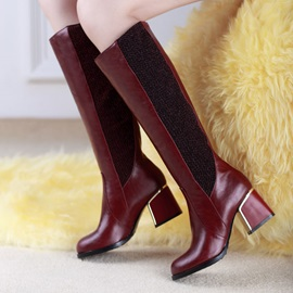 PU Patchwork Square Heel Knee High Boots