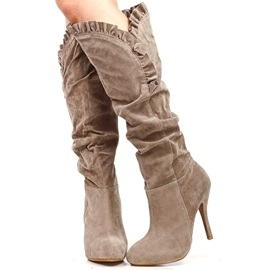 Suede Pleated Knee High Boots