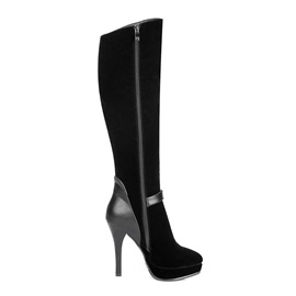 Letters Stiletto Heel Knee High Boots