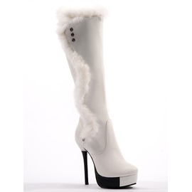 PU Purfle Stiletto Heel Platform Knee High Boots