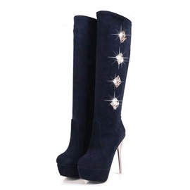 Rhinestone Stiletto Heel Knee High Boots