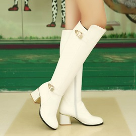 Solid Color Buckles Chunky Heel Knee High Boots