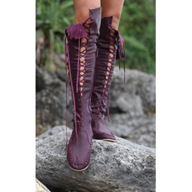 Solid Color Thread Lace-Up Knee High Boots