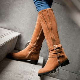 Suede Buckles Square Heel Knee High Boots