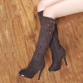 Embroidered Beading Suede Knee High Boots