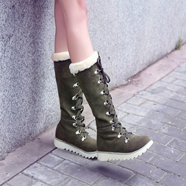 Purfle Suede Lace-Up Knee High Boots