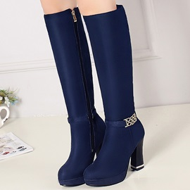 Elegant Round Toe Platform Knee High Boots