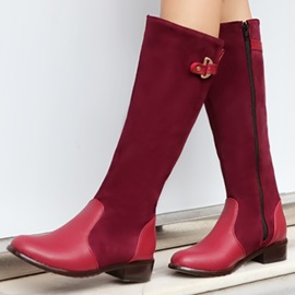Suede Patchwork Side Zipper Riding Boots
