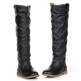 Faux Leather Round Toe Knee High Boots
