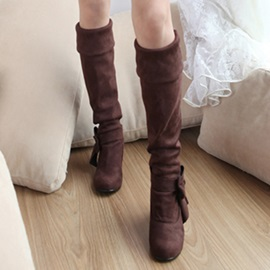 Solid Color Bowknots Wedge Heel Knee High Boots
