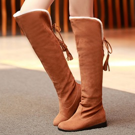 Solid Color Suede Lace-Up Knee High Boots