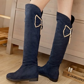 Rhinestone Bowtie Round Toe Knee High Boots