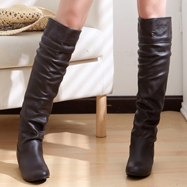 PU Slip-On Knee High Boots