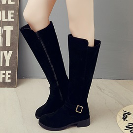PU Side Zipper Thread Block Heel Boots