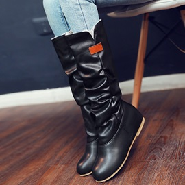 PU Slip-On Flocking Ruched Knee High Boots