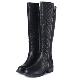 PU Side Zipper Thread Flat Knee High Boots