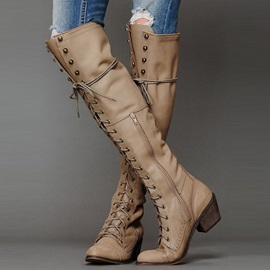 PU Side Zipper Lace-Up Front Sequin Knee High Boots