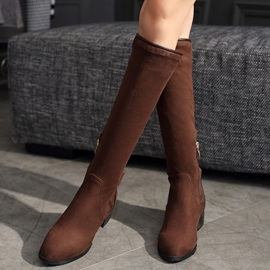 PU Side Zipper Flat Women's Knee High Boots