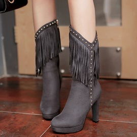 PU Side Zipper Platform Rivet Mid-Calf Boots