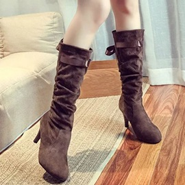 Suede Ribbon Slip-On Stiletto Heel Knee High Boots