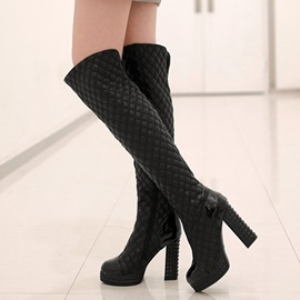 PU Side Zipper Thread Block Riding Boots