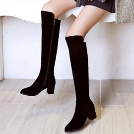 PU Side Zipper Thread Women's Knee High Boots