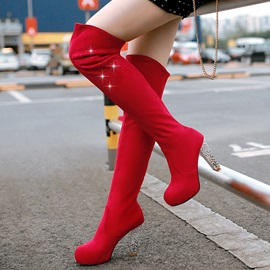 PU Slip-On Rhinestone Thread Thigh High Boots