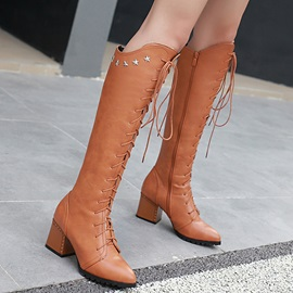 PU Lace-Up Front Women's Knee High Boots
