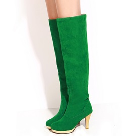 PU Slip-On High Heel Women's Knee High Boots