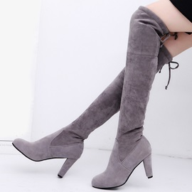 Suede Lace-Up Back Thread Women's Knee High Boots