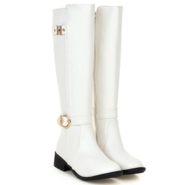 Comfy PU Side Zipper Buckle Women's Knee High Boots