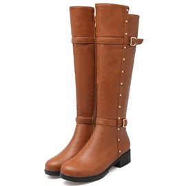 PU Side Zipper Rivet Flat Women's Boots