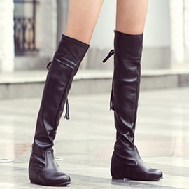 PU Lace-Up Back Ruched Women's Knee High Boots
