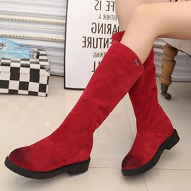 Suede Brush Slip-On Flat Women's Boots