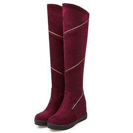 Suede Slip-On Flat Women's Knee High Fashion Boots