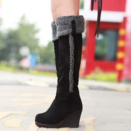 Suede Slip-On Wedge Heel Women's Knee High Boots
