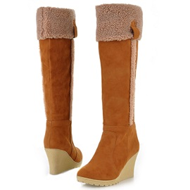 Suede Slip-On Wedge Knee High Boots