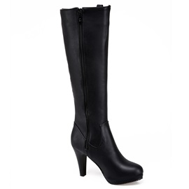 Comfy PU Side Zipper High Heel Women's Knee High Boots