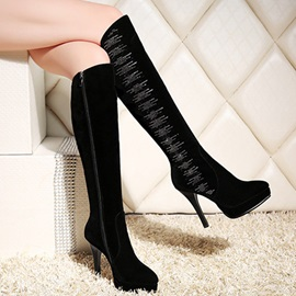 Suede Side Zipper Rhinestone High Heel Women's Boots