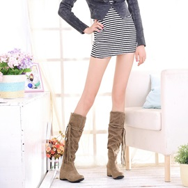 Nubuck Leather Ruched Flat Women's Knee High Boots