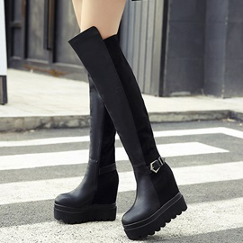 PU Side Zipper Platform Buckle Black Women's Knee High Boots