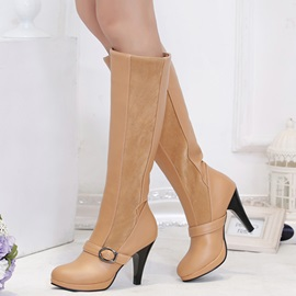 PU Slip-On Buckle  Stiletto Heel Women's Riding Boots