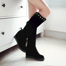 Faux Suede Rivets Hidden Heel Slip-On Women's Boots