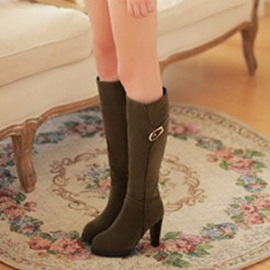 Faux Suede Buckle Chunky Heel Women's Knee High Boots