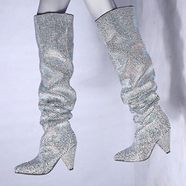 Faux Suede Rhinestone Chic Women's Boots