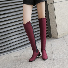 Faux Suede Slip-On Patchwork Women's Knee High Boots
