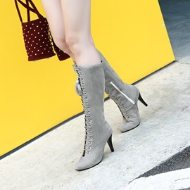 PU Pointed Toe Cross Strap Fringe Women's Boots