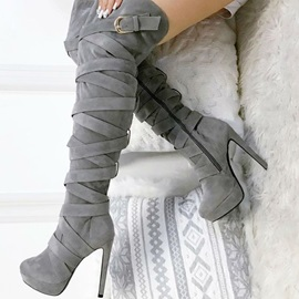 Faux Suede Side Zipper Buckle Women's Boots