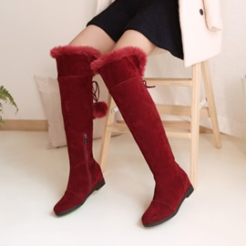 Faux Suede Lace-Up Pompon Plain Women's Boots