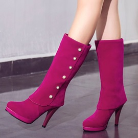 Faux Suede Beads Slip-On Stiletto Women's Boots